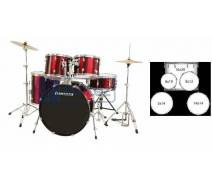 LUDWIG LC1704 BATERİ ACCENT CS COMBO FUSE RED  (5 PC)