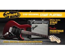 Stop Dreaming Start Playing! Set: Affinity Strat HSS Fender Frontman 15G Amp, Candy Apple Red