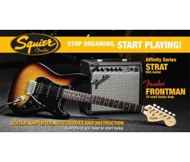 Stop Dreaming Start Playing! Set: Affinity Strat HSS Fender Frontman 15G Amp, Brown Sunburst
