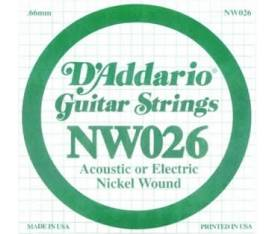 D'addario NW026 Elektro Akustik Tel Nickel Wound (Re)