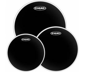 "Evans Deri Seti 10""+12""+16"" Black Chrome Tom Clear Rock Kit Çift Kat (14,5 Mil)"