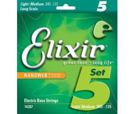 Elixir Nanoweb Light Medium 5 Telli Bas Gitar Teli (045-135)