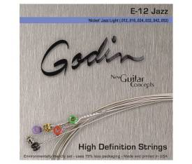 Godin Jazz Light E12 - Nickel Wound Elektro Gitar Takım Tel (012-052)